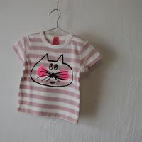 ▲送料無料 80サイズ/半そで ねこもぐらさん Tシャツ しましま オーガニックコットン ピンク ボーダー ほっぺあり 1192番目のねこもぐらさん