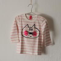 ▲送料無料  90サイズ/長そで ねこもぐらさん Tシャツ しましま オーガニックコットン ペールピンク ボーダー ほっぺあり 1167番目のねこもぐらさん