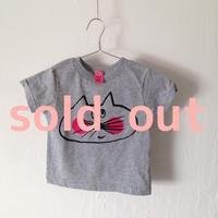 ▲送料無料 80サイズ/半そで ねこもぐらさんTシャツR 5.5oz uyoga cat mole ダークヘザー ほっぺあり 844番目のねこもぐらさん