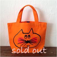 ▲送料無料 Sサイズ/キャンバス生地 ねこもぐらさん トートバッグB uyoga cat mole オレンジ