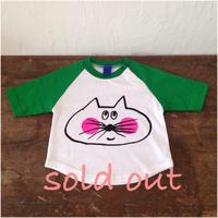 ▲送料無料 80サイズ/ラグラン七分そで ねこもぐらさんTシャツB uyoga cat mole ホワイト×グリーン