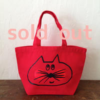 ▲送料無料 Sサイズ/キャンバス生地 ねこもぐらさん トートバッグ uyoga cat mole フレンチレッド ほっぺあり 591番目のねこもぐらさん