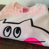▲送料無料 80サイズ/長そで ねこもぐらさんTシャツB 5.6oz uyoga cat mole ライトピンク ほっぺあり 640番目のねこもぐらさん