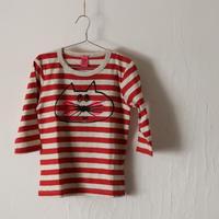 ▲送料無料 120サイズ/7分そで ねこもぐらさん Tシャツ しましま オーガニックコットン レッド ボーダー ほっぺあり 1146番目のねこもぐらさん