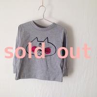 ▲送料無料 100サイズ/長そで ねこもぐらさんTシャツR 5.5oz uyoga cat mole ダークヘザー ほっぺあり 910番目のねこもぐらさん