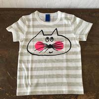 ▲送料無料 90サイズ/半そで ねこもぐらさんしましまTシャツE オーガニックコットン uyoga cat mole ライトグレー×ホワイト ボーダー ほっぺあり 1016番目のねこもぐらさん