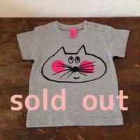 ▲送料無料 80サイズ/半そで ねこもぐらさんTシャツ 6.2oz uyoga cat mole ミックスグレー ほっぺあり 437番目のねこもぐらさん