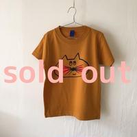 ▲送料無料 120サイズ/半そで ねこもぐらさんTシャツC 6.2oz uyoga cat mole マスタード ほっぺあり 916番目のねこもぐらさん