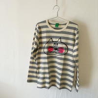 ▲送料無料 130サイズ/長そで ねこもぐらさんしましま起毛TシャツE オーガニックコットン uyoga cat mole グレーしましま (ボーダー) ほっぺあり 951番目のねこもぐらさん