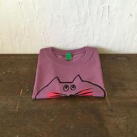 ▲送料無料 130サイズ/半そで ねこもぐらさんTシャツC 6.2oz uyoga cat mole ボルドー ほっぺあり 1039番目のねこもぐらさん