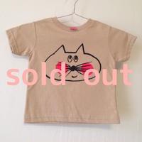 ▲送料無料 90サイズ/半そで ねこもぐらさんTシャツR 5.5oz uyoga cat mole カーキ ほっぺあり 764番目のねこもぐらさん