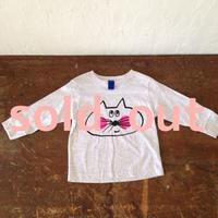 ▲送料無料 90サイズ/長そで ねこもぐらさんTシャツR uyoga cat mole アッシュ ほっぺあり 321番目のねこもぐらさん