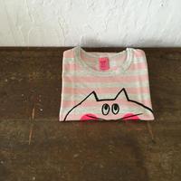 ▲送料無料 110サイズ/半そで ねこもぐらさんしましまTシャツE オーガニックコットン uyoga cat mole ライトピンク×グレー ボーダー ほっぺあり 1025番目のねこもぐらさん