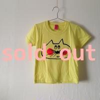 ▲送料無料 100サイズ/半そで ねこもぐらさんTシャツ 5.6oz uyoga cat mole ライトイエロー ほっぺあり 853番目のねこもぐらさん