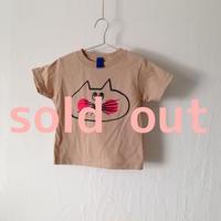 ▲送料無料 90サイズ/半そで ねこもぐらさんTシャツR 5.5oz uyoga cat mole カーキ ほっぺあり 849番目のねこもぐらさん