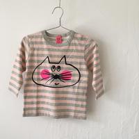 ▲送料無料 80サイズ/長そで ねこもぐらさんしましまTシャツE オーガニックコットン uyoga cat mole ベビーピンク×グレー ボーダー ほっぺあり 1107番目のねこもぐらさん