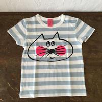 ▲送料無料 80サイズ/半そで ねこもぐらさんしましまTシャツE オーガニックコットン uyoga cat mole  ライトブルー×ホワイト ボーダー ほっぺあり 1026番目のねこもぐらさん