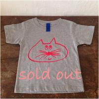 ▲送料無料 100サイズ/半そで ねこもぐらさんTシャツ uyoga cat mole ミックスグレー