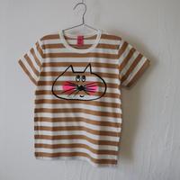 ▲送料無料 120サイズ/半そで ねこもぐらさん Tシャツ しましま オーガニックコットン スモーキーアプリコット ボーダー ほっぺあり 1215番目のねこもぐらさん