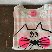 ▲送料無料 90サイズ/半そで ねこもぐらさんしましまTシャツE オーガニックコットン uyoga cat mole ライトピンク×グレー ボーダー ほっぺあり 1017番目のねこもぐらさん