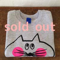 ▲送料無料 90サイズ/こども ねこもぐらさんスウェットR uyoga cat mole グレー ほっぺあり 388番目のねこもぐらさん