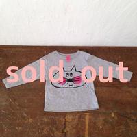 ▲送料無料 80サイズ/長そで ねこもぐらさんTシャツR uyoga cat mole ダークヘザー ほっぺあり 392番目のねこもぐらさん