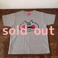 ▲送料無料 120サイズ/半そで ねこもぐらさんTシャツ 6.2oz uyoga cat mole ミックスグレー ほっぺあり 610番目のねこもぐらさん