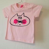 ▲送料無料 90サイズ/半そで ねこもぐらさんTシャツ 5.6oz uyoga cat mole ベビーピンク ほっぺあり 792番目のねこもぐらさん