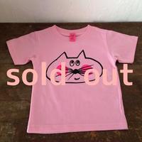 ▲送料無料 100サイズ/半そで ねこもぐらさん Tシャツ 6.2oz uyoga cat mole ピンク 552番目のねこもぐらさん