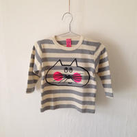 ▲送料無料 80サイズ/長そで ねこもぐらさんしましま起毛TシャツE オーガニックコットン uyoga cat mole グレーしましま (ボーダー) ほっぺあり 938番目のねこもぐらさん