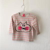 ▲送料無料 80サイズ/長そで ねこもぐらさんしましまTシャツE オーガニックコットン uyoga cat mole ライトピンク×グレー ボーダー ほっぺあり 986番目のねこもぐらさん