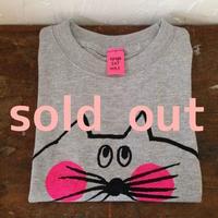 ▲送料無料 100サイズ/半そで ねこもぐらさんTシャツ 6.2oz uyoga cat mole ミックスグレー ほっぺあり 557番目のねこもぐらさん