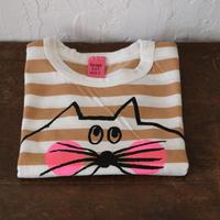 ▲送料無料 ▶︎OUTLET▶︎ 90サイズ/半そで ねこもぐらさん Tシャツ しましま オーガニックコットン スモーキーアプリコット ボーダー ほっぺあり 1200番目のねこもぐらさん