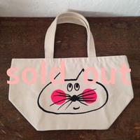 ▲送料無料 Sサイズ/キャンバス生地 ねこもぐらさん トートバッグ uyoga cat mole ナチュラル ほっぺあり 715番目のねこもぐらさん