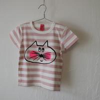 ▲送料無料 90サイズ/半そで ねこもぐらさん Tシャツ しましま オーガニックコットン ピンク ボーダー ほっぺあり 1196番目のねこもぐらさん