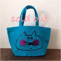 ▲送料無料 Sサイズ/キャンバス生地 ねこもぐらさん トートバッグ uyoga cat mole ターコイズブルー