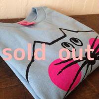 ▲送料無料 100サイズ/長そで ねこもぐらさんTシャツR uyoga cat mole ライトブルー ほっぺあり 642番目のねこもぐらさん