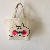 ▲送料無料 Sサイズ/キャンバス生地 ねこもぐらさん トートバッグ uyoga cat mole ナチュラル ほっぺあり 1031番目のねこもぐらさん