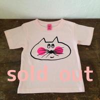 ▲送料無料 100サイズ/半そで ねこもぐらさんTシャツ 6.2oz uyoga cat mole ベビーピンク ほっぺあり 558番目のねこもぐらさん