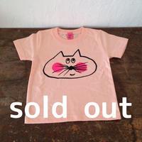 ▲送料無料 100サイズ/半そで ねこもぐらさんTシャツ 5.6oz uyoga cat mole アプリコット ほっぺあり 617番目のねこもぐらさん