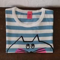 ▲送料無料 120サイズ/半そで ねこもぐらさん Tシャツ しましま オーガニックコットン ブルー ボーダー ほっぺあり 1211番目のねこもぐらさん