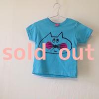 ▲送料無料 800番目のねこもぐらさん 80サイズ/半そで ねこもぐらさんTシャツR 5.5oz uyoga cat mole アクア ほっぺあり