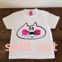 ▲送料無料 90サイズ/半そで ねこもぐらさんTシャツB 5.6oz uyoga cat mole ホワイト ほっぺあり 560番目のねこもぐらさん