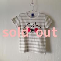 ▲送料無料 110サイズ/半そで ねこもぐらさんしましまTシャツE オーガニックコットン uyoga cat mole グレー×ホワイト ほっぺあり 871番目のねこもぐらさん