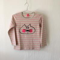 ▲送料無料 130サイズ/長そで ねこもぐらさんしましまTシャツE オーガニックコットン uyoga cat mole ライトピンク×グレー ボーダー ほっぺあり 991番目のねこもぐらさん