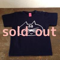 ▲送料無料 90サイズ/半そで ねこもぐらさんTシャツ 6.2oz uyoga cat mole ネイビー 544番目のねこもぐらさん
