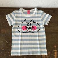 ▲送料無料 100サイズ/半そで ねこもぐらさんしましまTシャツE オーガニックコットン uyoga cat mole ライトブルー×ホワイト ボーダー ほっぺあり 1021番目のねこもぐらさん