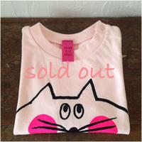 ▲送料無料 90サイズ/半そで ねこもぐらさんTシャツ 6.2oz uyoga cat mole ベビーピンク ほっぺあり