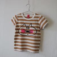 ▲送料無料 100サイズ/半そで ねこもぐらさん Tシャツ しましま オーガニックコットン スモーキーアプリコット ボーダー ほっぺあり 1205番目のねこもぐらさん