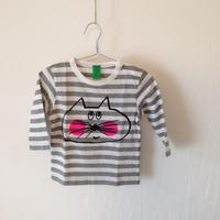 ▲送料無料 80サイズ/長そで ねこもぐらさんしましまTシャツE オーガニックコットン uyoga cat mole グレーしましま (ボーダー) ほっぺあり 889番目のねこもぐらさん